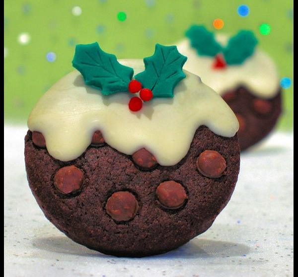 Chocolate christmas pudding cookies