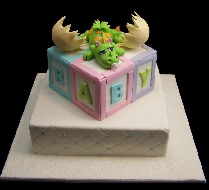 Dragon Baby Shower Cake