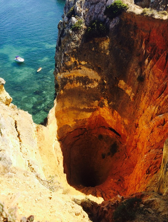 This beautiful abyss while hiking near Lagos, Portugal