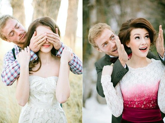 Closed eyes in normal clothes, then open when you're in wedding