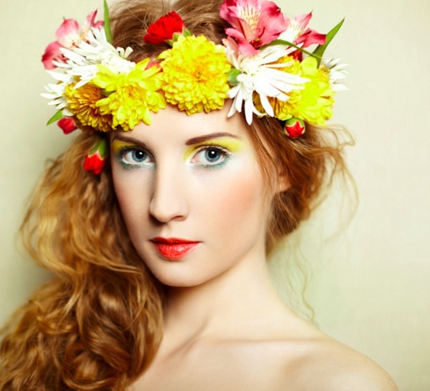 Beautiful women with delicate flowers