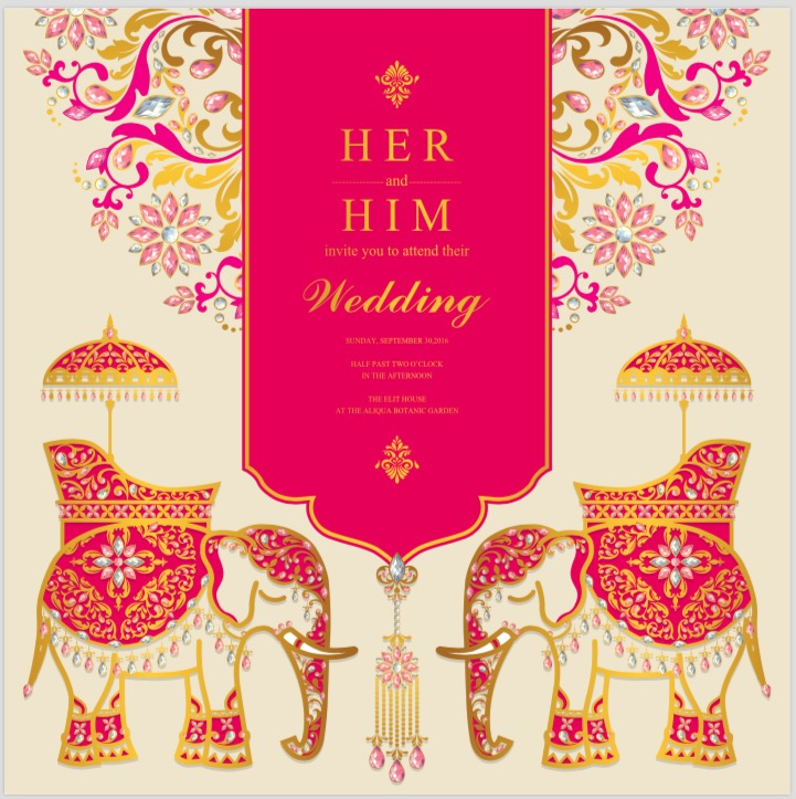 Indian wedding card, Elephant patterned gold and crystals color