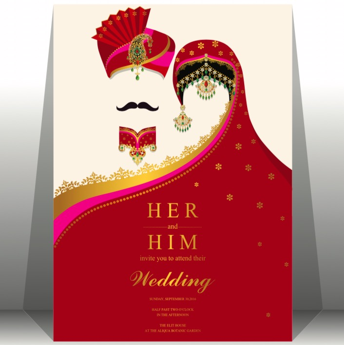 Indian wedding card, gold and crystals color