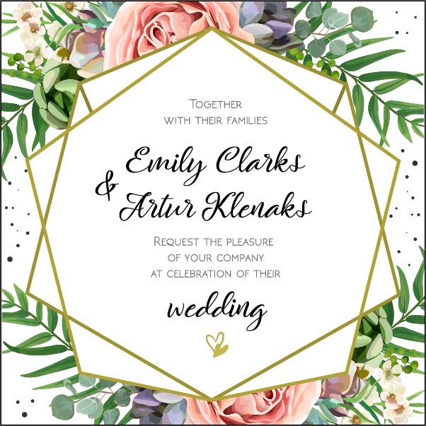 Wedding Invitation, floral invite card Design
